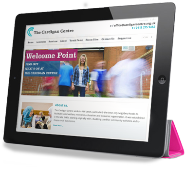 iPad with Cardigan Centre site on screen